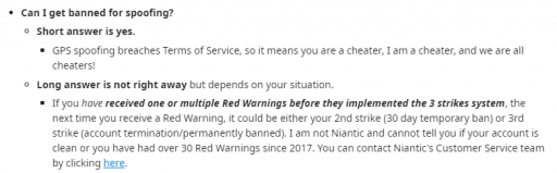 banned for spoofing