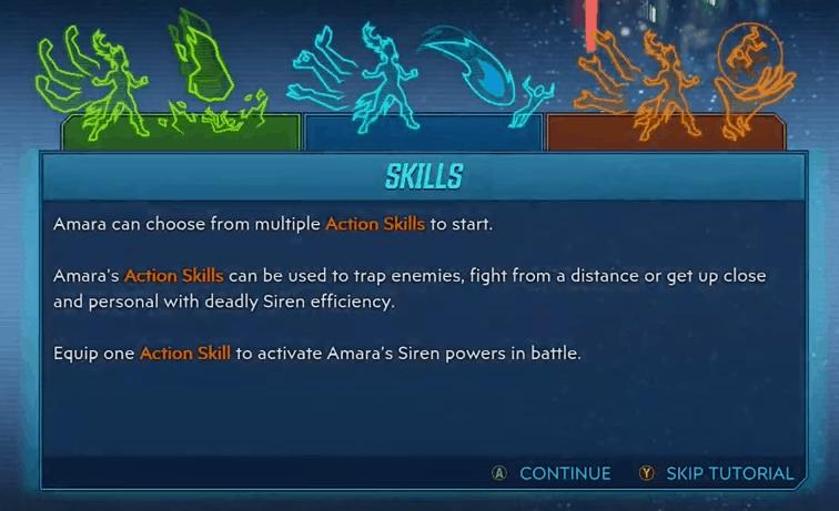 Amara action skills menu